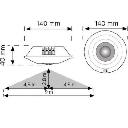 Ceiling Mounted Type Motion Sensor measures