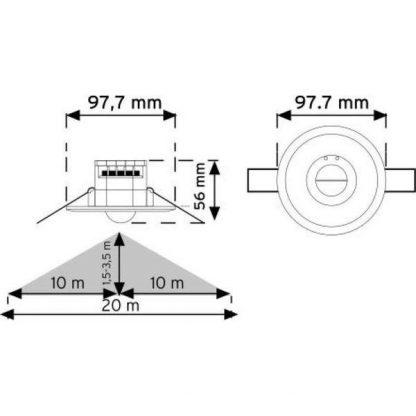 Ceiling Type Microwave Motion Sensor measures