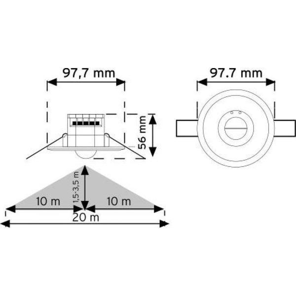 Flush-Mount Ceiling Type Microwave Motion Sensor