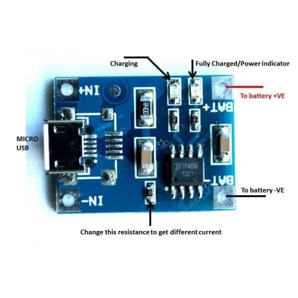 wiring diagram for micro usb tp4056 micro usb li ion li poly battery charge module 1