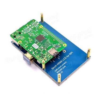 5 Inches HDMI Resistive Touch LCD for Raspberry Pi Installed Back